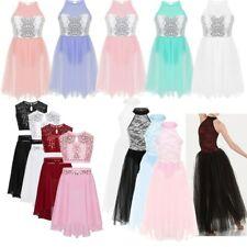 Kid Girls Lyrical Dance Dress Sequins Ballet Ballroom Dress Contemporary Costume