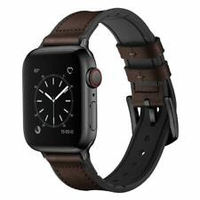 iWatch Band 42mm/44mm Series 5 4 3 2 1 Hybrid Genuine Leather Strap Dark Brown
