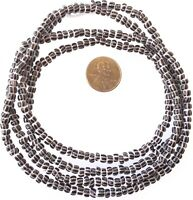 Vintage Opaque Cocoa Multi Stripe Chevron 3mm glass beads Trade Beads-Ghana