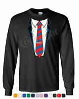 Shirt and Tie Long Sleeve T-Shirt Office Suit Casual Funny Tee