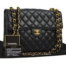 Auth CHANEL Jumbo CC Double Chain Shoulder Bag Black Caviar Leather VTG O01552e