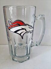 Denver Broncos Large 32oz Glass 3D Mug with Metal Emblem RARE  EUC    INV587
