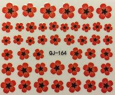 Nail Art 3D Decal Stickers Red Flowers QJ-164
