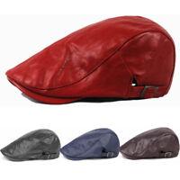 Men's Faux Leather Golf Driving Beret Cabbie Newsboy Hat Adjustable Flat Ivy Cap