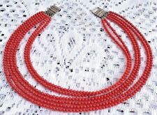 Antique Mediterranean Red Coral Bead Sterling Silver Clasp Multistrand Necklace