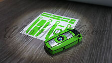 Toxic Green Gloss Key Fob Wrap Cover Overlay BMW 1 3 5 6 Series Z4 X1 3 X5 X6 M