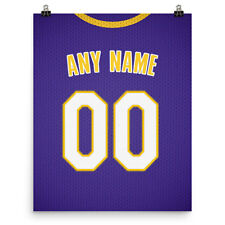 Los Angeles Lakers Jersey Poster - Personalized Name & Number Free Us Shipping