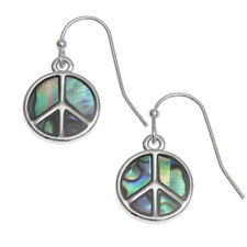 Peace Sign Fashionable Earrings - Fish Hook - Abalone Paua Shell