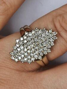 1.00 Carat 100pts white Diamond 9ct yellow gold very clear diamonds size T V26.