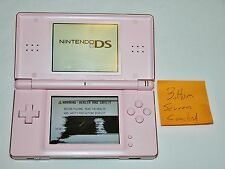 Nintendo DS Lite System Handheld Coral Pink - Powers On, Bottom Screen Cracked