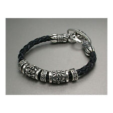 Sterling Silver.925 Gothic Cross Beads and Black Cow Leather Men's Bracelet