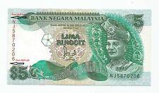 "MALAYSIA  RM5  ERROR PRINT SHIFT  Cross Flag Pole  Prefix NJ_5870206  ""EF"""