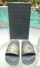 Authentic MCM Blk/Gold Slides Sandals LTD ED Sz 41/7M/9W Slides EUC-SOLD OUT!!