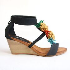 Riemchen Sandaletten 39 Schwarz Wedges Pumps High Heels Keilabsatz Shoes FD3-12