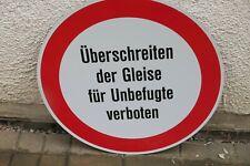 Altes ALU Schild Überschreiten der Gleise für Unbefugte verboten Topp Bahnhof