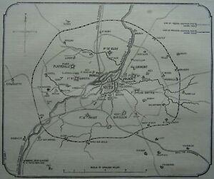 Franco Prussian War FORTIFICATION MAP METZ & BESIEGERS LINE Original Print 1870