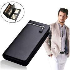 Men's Leather ID Card Holder Zip Wallet Purse Clutch Checkbook Billfold Long USA
