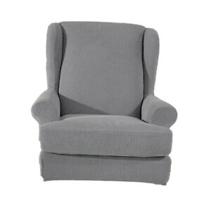 Stretch Wing Back Arm Chair Cover 2-Piece Wingback Sofa Slipcover