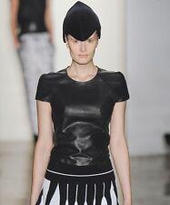 OHNE TITEL Black Leather Zipper Back Top 42  8