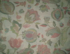 Vintage LARGE STUNNING PINK & GREEN FLORAL/PAISLEY JACOBEAN Fabric (50cm x 50cm)