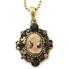 Plum Purple Cameo Pendant Necklace Charm Antique Vintage Classic Design Charm m8