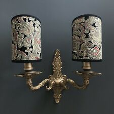 Black Paisley - Handmade, Candle Clip Half Lampshade for Wall Lights