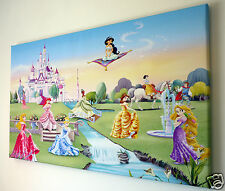 DISNEY PRINCESS CANVAS PRINT  WALL ART PICTURE 18 X 32 INCH