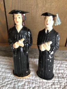 2 Vintage'57 Chalkware Chalk Boy/Man&Girl/Lady Graduation Cake Decoration Topper