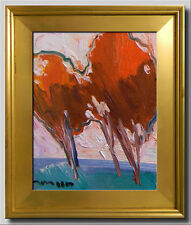 JOSE TRUJILLO Modern Art FRAMED Original Oil Painting IMPRESSIONISM RED Trees