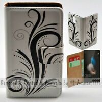 For Huawei Series - Black Swirl Theme Print Wallet Mobile Phone Case Cover