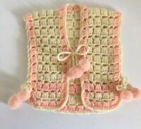 Vintage Baby Girls Knitted Crocheted Vest Jacket Handmade Newborn Reborn Pompom