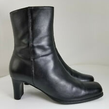 Sudini Size 8.5M Black Leather Ankle Boots Booties (N009)