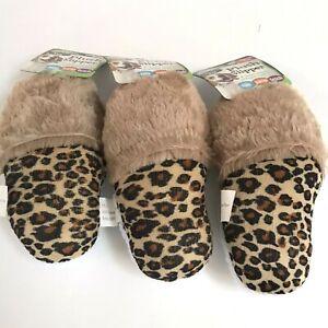 Dog Toy Slipper Leopard Squeak Plush Fur Sherpa Animal Print Play Fetch Pets Lot