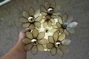 Mid century BOULANGER Mother pearl nacre Lotus flower Flush mount chandelier