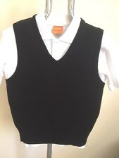 Trutex BLACK  34'' School Jumper V Neck Sweat New sleeveless BOYS gilet  C