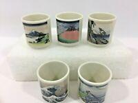 Vintage Japanese Shunga Sake Cups with Mountain/Sea Side Scenes Full Set Of 5