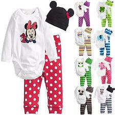 3pcs Neonato Cappello Tutina Pantaloni Casual Vestito Bambino Set