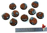 32mm x 10 Rock Slate, Round Resin Bases  style 40k sci-fi