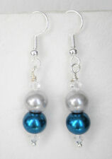 Teal blue and silver grey 8mm glass pearl and clear beads earrings 5cm drop