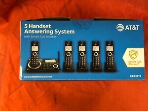 AT&T 5 Handset Cordless Telephone Answering System w/ Smart Call Block CL83519