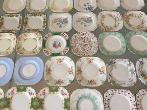 30 Art Deco Vintage Bone China SQUARE Tea Side Plates 1920s 1930s Quality Lot