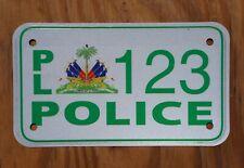HAITI POLICE MOTORCYCLE Sample License Plate # 123