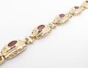 .Antique French Style Ruby Set 10K Gold Tennis Bracelet 18cm Long Val $2450