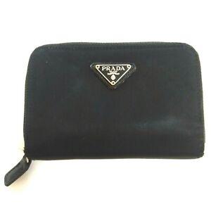 "PRADA Black Nylon Leather Zip Closure Women's Wallet Made in Italy Size 6""x4"""