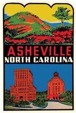 Asheville North Carolina  Vintage 1950's Style  Travel Decal  Sticker  Biltmore
