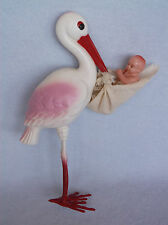 "Large 9"" Plastic Celluloid Stork Maternity Vintage Irwin Baby Doll in Diaper USA"