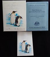1992 BIRDS of AUSTRALIA PENGUINS $10 SILVER COIN in WALLET MELBOURNE COIN FAIR