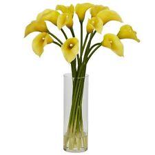 Nearly Natural 1187-YL Mini Calla Lily Silk Flower Arrangement- Yellow