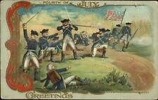 4th Fourth of July Revolutionary Soldiers Battle c1910 Embossed Postcard
