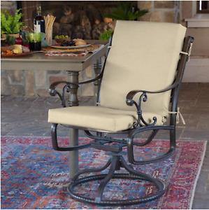 New Tan Leala Texture Outdoor High Back Dining Chair Cushion
